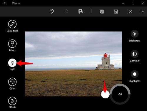 Windows 10 Photos Adjust  Shadows