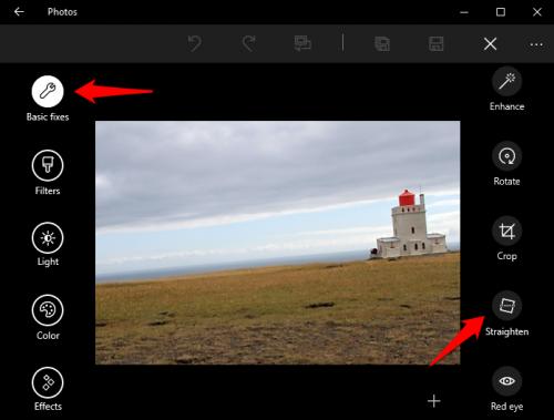 Windows 10 Photos Straighten Tool