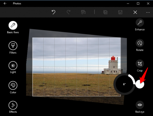 Windows 10 Photos Straighten