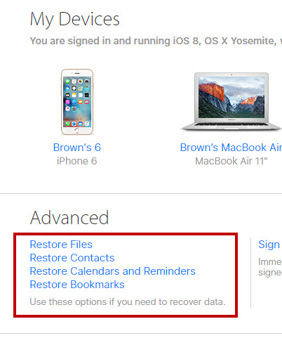 recover deleted iCloud files contacts calendars reminders bookmarks