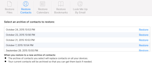recover iCloud contacts