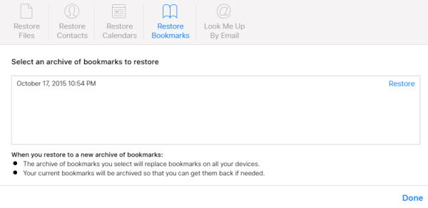 recover iCloud Bookmarks
