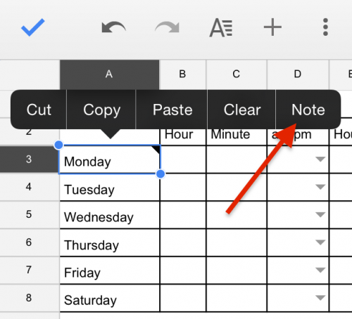Google Sheets Mobile Note