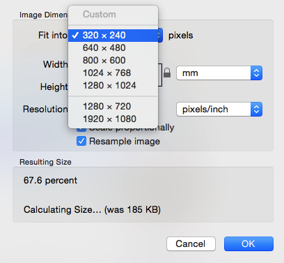Mac Preview resize to set ratio