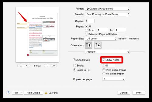 Mac Print PDF Notes