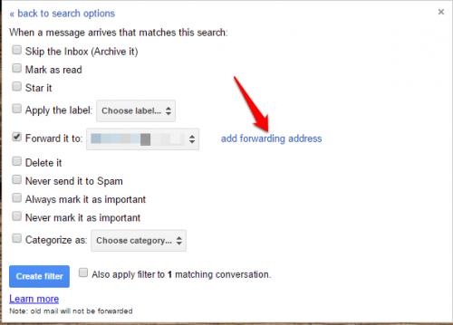gmail filter forward