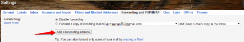 Gmail add forwarding address