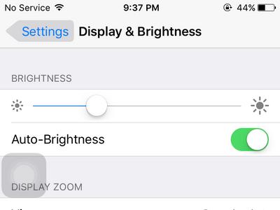 iPhone Settings - Display Settings