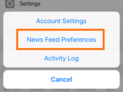 iphone - Facebook - More - Settings - News Feeds Preferences