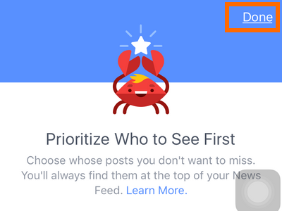 iphone - Facebook - More - Settings - News Feeds Preferences - Prioritize Who to See first - Choose Friends - Done