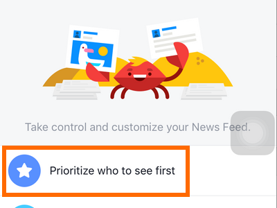 iphone - Facebook - More - Settings - News Feeds Preferences - Prioritize Who to See first