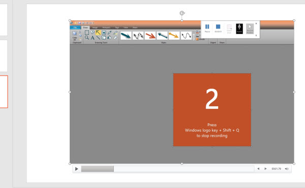 insert screen recording to PowerPoint