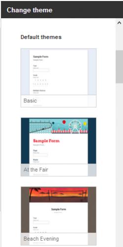 Google Form Themes