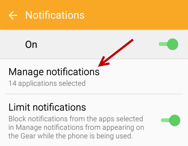 Manage notification Gear S2