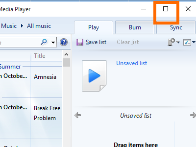 Windows 10 Media Player - Maximize Button