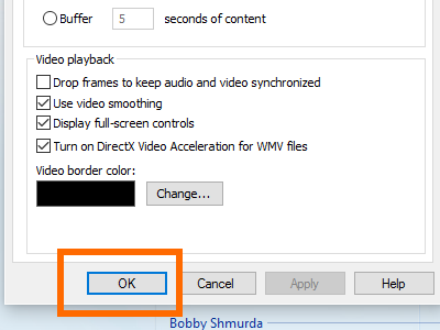 Windows 10 Media Player - Organize Menu - Option - Performance - OK
