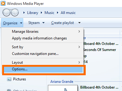 Windows 10 Media Player - Organize Menu - Option