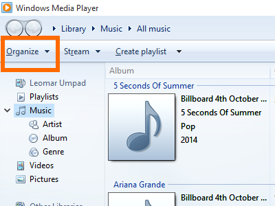 Windows 10 Media Player - Organize Menu