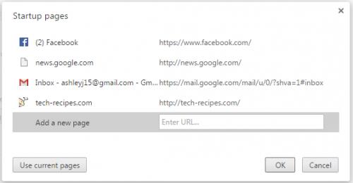 startup chrome tabs