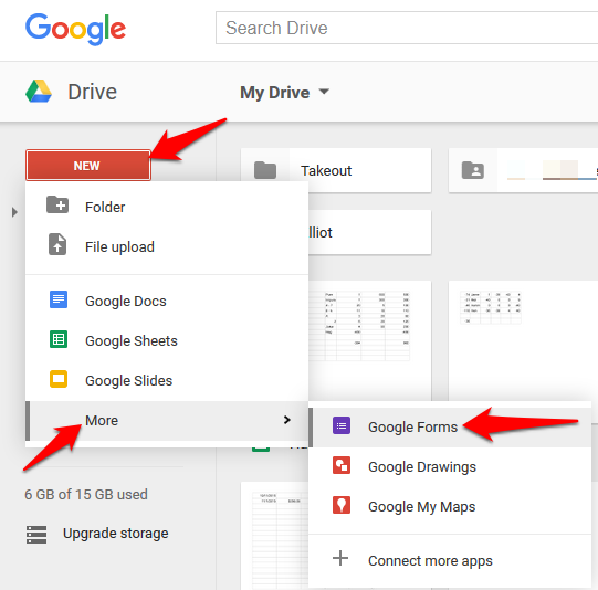 How to create basic google forms go to directly to google forms or go to your google drive and click newmoregoogle forms ccuart Image collections