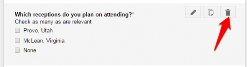 Google Forms delete question