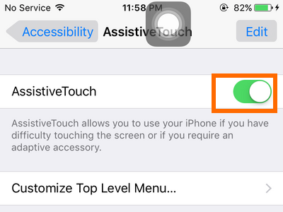 iPhone - Settings - General - Accessibility - Assistive Touch option - Switch enabled