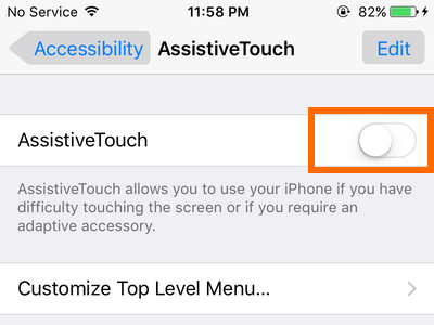 iPhone - Settings - General - Accessibility - Assistive Touch option - Switch