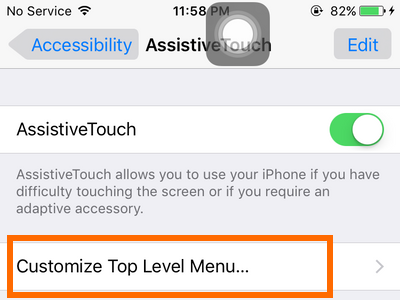 iPhone - Settings - General - Accessibility - Assistive Touch option - customize top level menu
