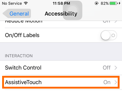iPhone - Settings - General - Accessibility - Assistive Touch option