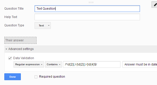 regular expressions google form