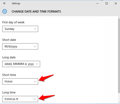 Change Date & Time format Windows 10