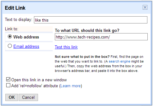Blogger Add Link