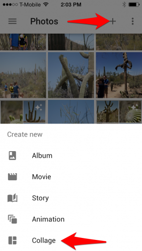 Create Collage with Google Photos