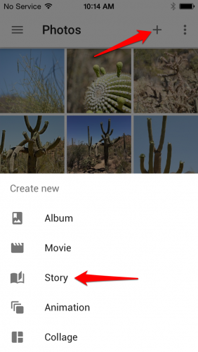 Create Google Photos Story