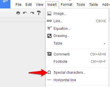 Insert Symbol in Google Doc