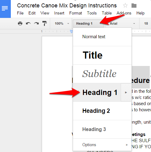 Google Doc Text Style