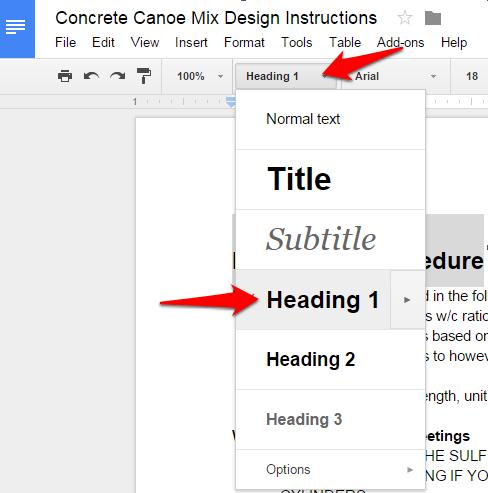 Google Doc Text Style