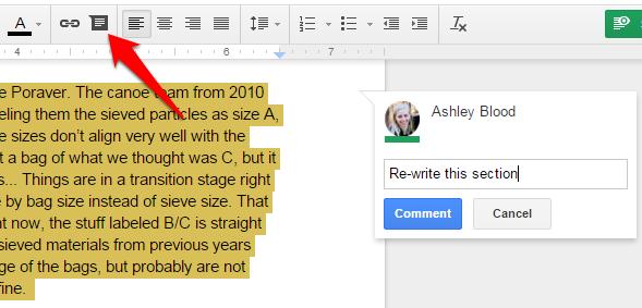 Google Docs Comment