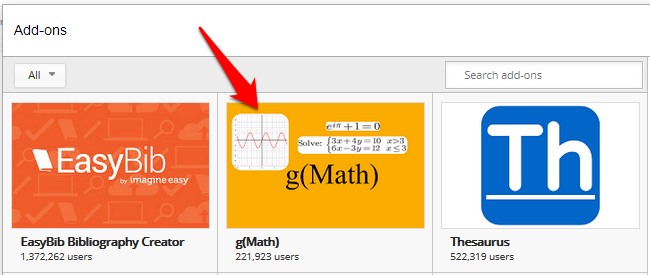 Google Docs Math Add in