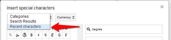 Google Docs Recent Characters
