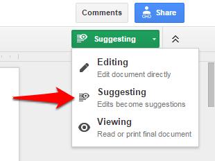 Google Docs Suggesting