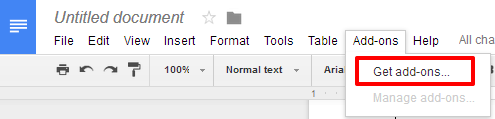 Google Docs get add-ons