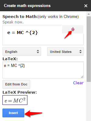 Insert equation in Google Docs