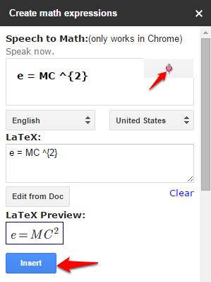 Insert equation in Google Docs