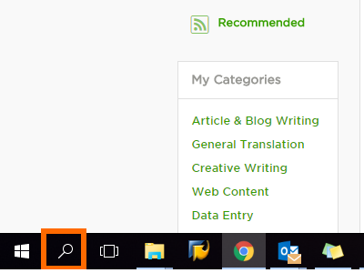 Search button for Windows