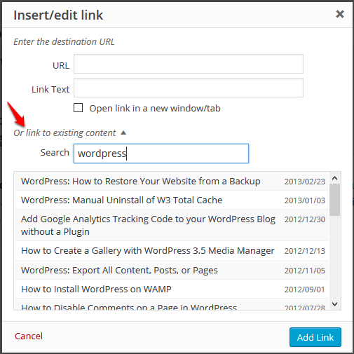 wordpress link to existing content