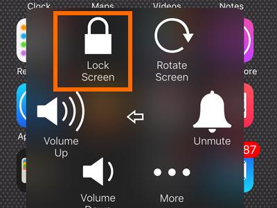 Assistive touch - device menu - lock screen