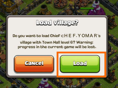 Clash of Clans - Load village window - Load