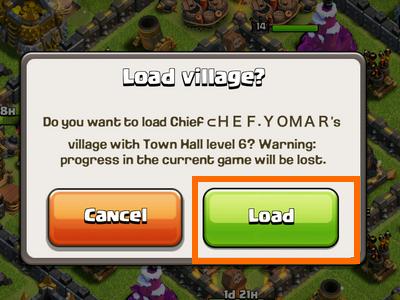 Clash of Clans - Load village window - Load