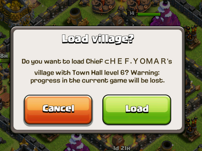 Clash of Clans - Load village window